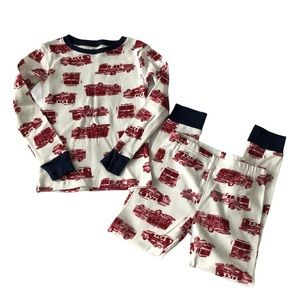 New Carter's Red & White Firetruck Patterned Pj's